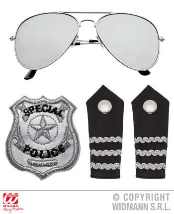 Polizistin Set - Polizei Set - Sonnenbrille, Schulterklappe, Abzeichen 3-teilig