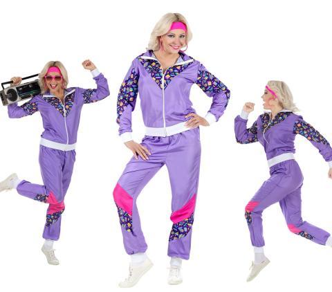 Violetter 80er Jahre Damen  Jogginganzug 80er Jahre
