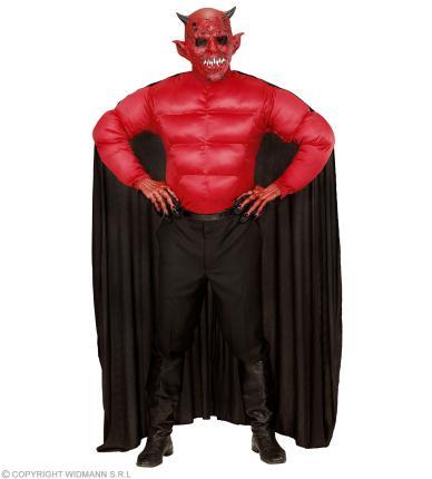 Herren Teufel Kostüm - Muskelshirt mit Umhang Halloween