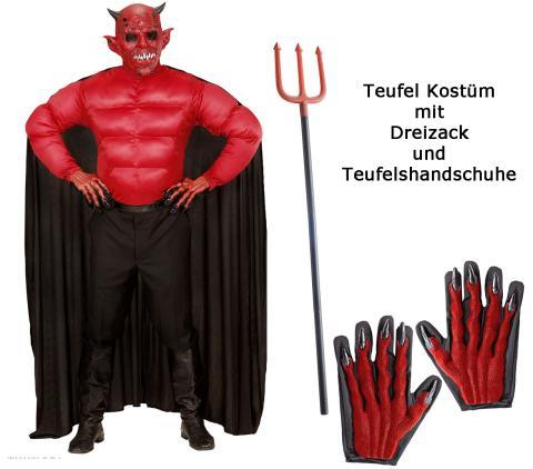 Herren Teufel Kostüm - Muskelshirt mit Umhang mit Dreizack + Handschuhe M - 50/52