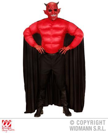 Herren Teufel Kostüm - Muskelshirt mit Umhang Gr. S 48