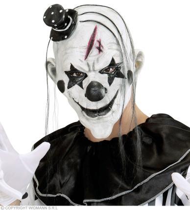 Killer Clownmaske mit Haar und Minihut - Clownsmaske - Clown Maske