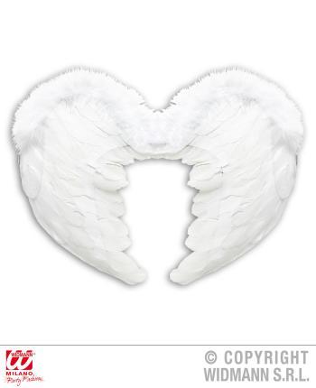 Weißer Engel Flügel aus weissen Federn 37 x 50 cm
