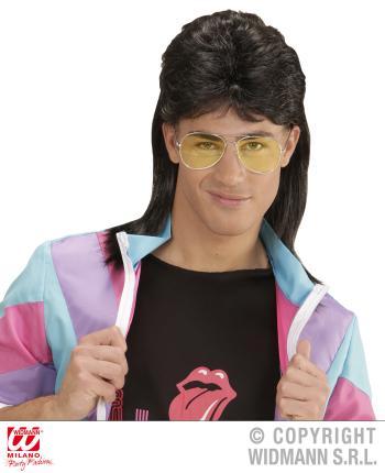 Vokuhila Männer Perücke mit Brille 80er Jahre Mullet in schwarz