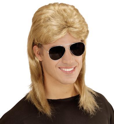 Blonde Vokuhila Männer Perücke mit Brille 80er Jahre Mullet