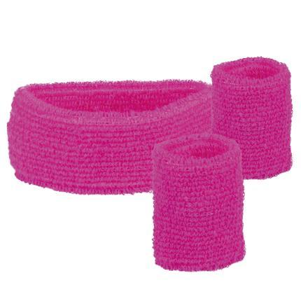 Schweißbänder neon pink 3er -Set Boland -  80er Jahre