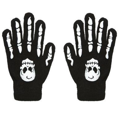Knochenhandschuhe mit Totenkopf - Erwachsenen Handschuhe - Halloween