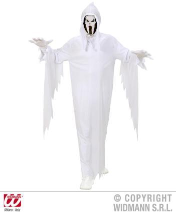 Kinderkostüm Geist Gr 128 - Gespenst Umhang Maske mit Kapuze