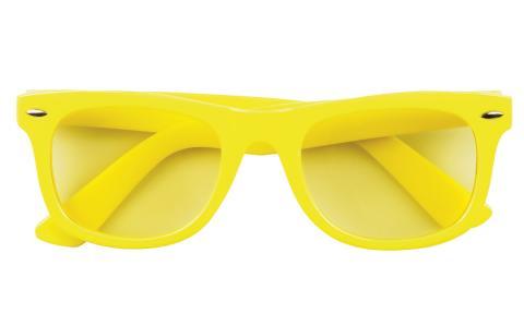 Gelbe Brille der 80er Jahre neongelb mit Gläsern in gelb