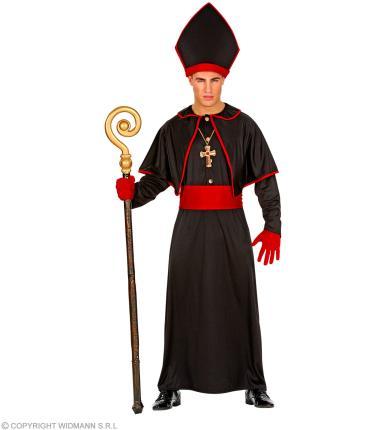 Bischof Kostüm schwarz mit Gewand, Gürtel, Hut -Geistlicher