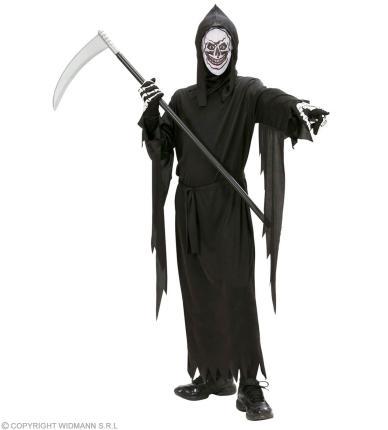 Kinder Kostüm Sensenmann - Robe, Gürtel, Maske mit Kapuze