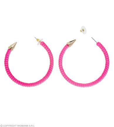 Neon pink Ohrringe  - Zubehör 80er 90 er Jahre Verkleidung