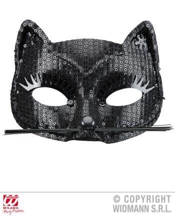 Schwarze Katzenaugenmaske mit Pailetten