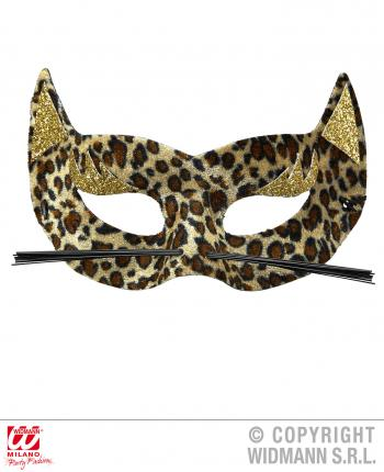 Augenmaske Velvet Leopard mit Goldglitter Leo Maske