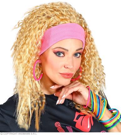 80er Jahre Fashion Perücke in blond mit Haarband