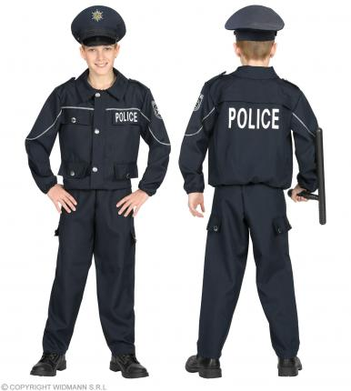 Kostüm Polizist - Größe 104 cm bis 158 cm - Jacke, Hose, Mütze