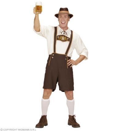 Kostüm Bayer - Lederhose, Hemd, Socken, Hut Oktoberfest S - 48/50