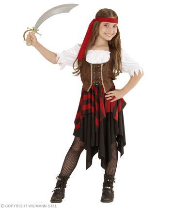 Kinder-Kostüm Abenteuer Piratin - Piratenkostüm Mädchen S - 128 cm