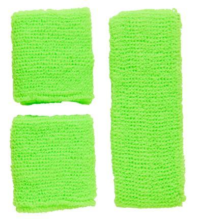Neon Schweißbänder mit Stirnband - neon grün - Set -  80er 90 er Jahre