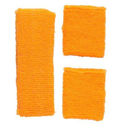 Neon Schweißbänder mit Stirnband - neon orange - Set -  80er 90 er Jahre