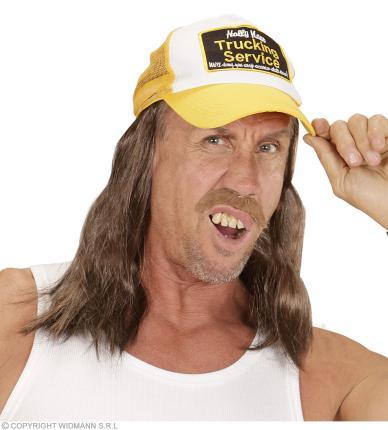 """Truckerhut mit Haar """"Bob"""" - Schirmmütze - mit Baseball Kappe"""