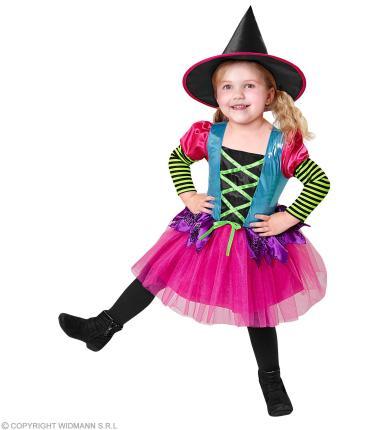 Buntes Hexen Kleid - Kinder Kostüm Hexe mit Hut M - 140 cm