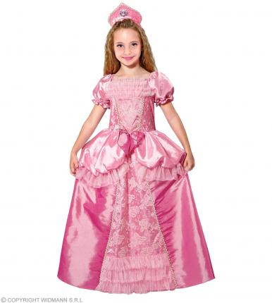 Prinzessin Kleid mit Kopfschmuck rosa - pink S - 128 cm