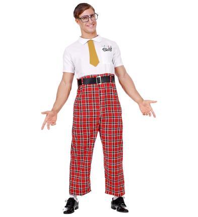Nerd Kostüm Streber Streberkostüm Loser mit Brille + Krawatte XXL - 56/58