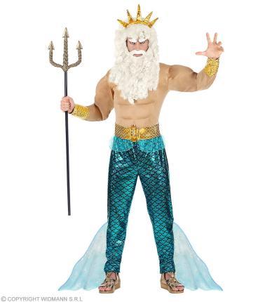 Gott des Meers Verkleidung - Poseidon Kostüm Neptun Meeresgott Gr. M