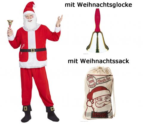 Weihnachtmann Set, Oberteil, Hose, Mütze mit Bart Gr. L - XXL + Sack + Glocke