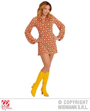 Groovy 70er Jahre Kleid Trompetenärmel Gr. L - Minikleid Rhombus