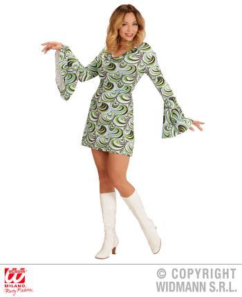 Groovy 70er Jahre Kleid Trompetenärmel- Minikleid Wellen M - 38/40