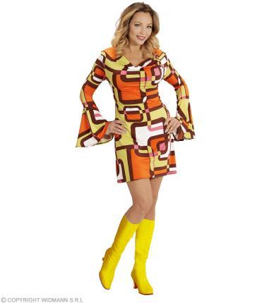 Groovy 70er Jahre Kleid mit Trompetenärmel - Minikleid Hippie Schlager