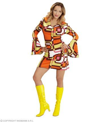 Groovy 70er Jahre Kleid mit Trompetenärmel - Minikleid Hippie Schlager XL - 46/48