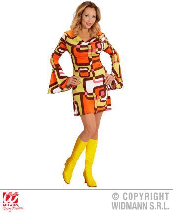Groovy 70er Jahre Kleid mit Trompetenärmel Größe XL - Minikleid Hippie Schlager