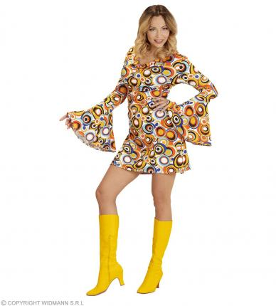 Groovy 70er Jahre Kleid Trompetenärmel - Minikleid Bubbles XL - 46/48