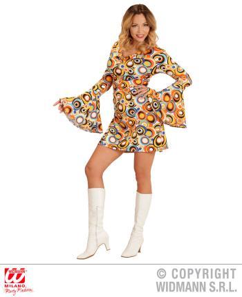 Groovy 70er Jahre Kleid Trompetenärmel Gr. M - Minikleid Bubbles