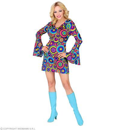 Groovy 70er Jahre Kleid Trompetenärmel Gr. S bis XL  - Minikleid Bubbles blau