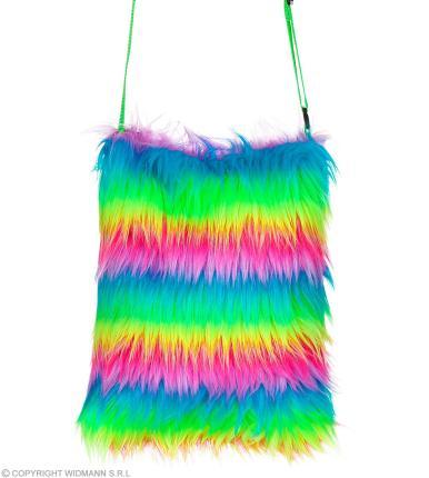 Regenbogen Plüsch Umhängetasche 80er Jahre - Handtasche bunt