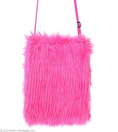 Neon Pinke Plüsch Umhängetasche 80er Jahre - Handtasche in neon pink