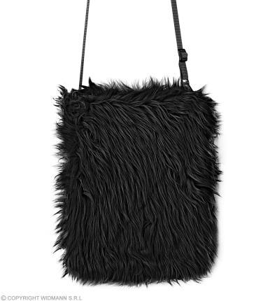 Schwarze Plüsch Umhängetasche 80er Jahre - Handtasche in schwarz