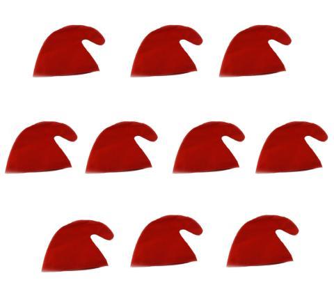 10  Zwergenmützen in rot für Erwachsene - Zwergen Hut Mützen  rote Gnommützen