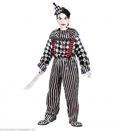 Kostüm Kinder Clown Halloween - Overall mit Kragen, Hosenträgern und Kopfbedeckung