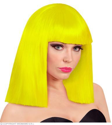 Perücke in neongelb Showgirl in Box - neon gelbe Damenperücke