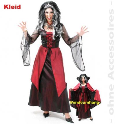 Gothic Kleid Vivien Halloween Fries  Damenkleid rot