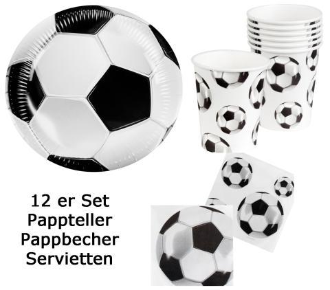 12 Fußball Set - Fußball Servietten - Fußballteller - Fußballbecher