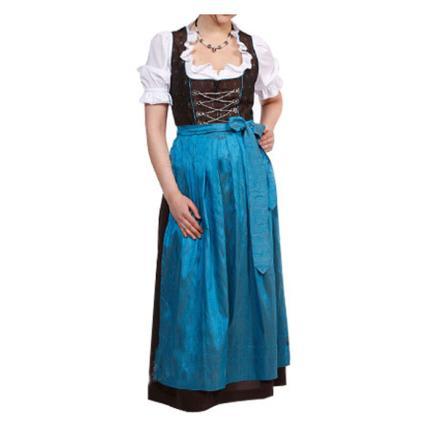 Dirndl lang mit Bluse und blauer Schürze Gr. 36