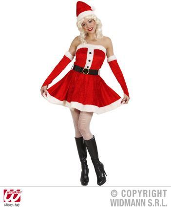 Weihnachtsfrau Plüsch Kostüm Gr M - Weihnachtsmann Frau Verkleidung M