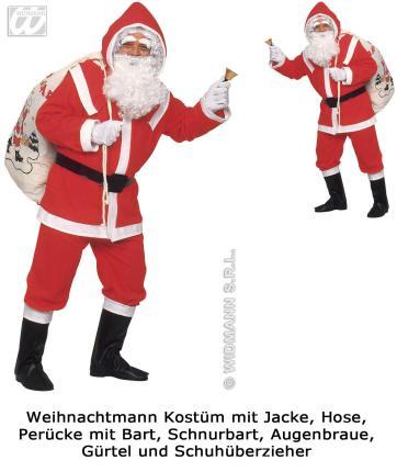 Flanell Santa Claus Kostüm komplett Weihnachtsmannkostüm M/L