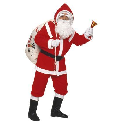 Flanell Santa Claus Kostüm komplett Weihnachtsmannkostüm M/L + weiße Handschuhe